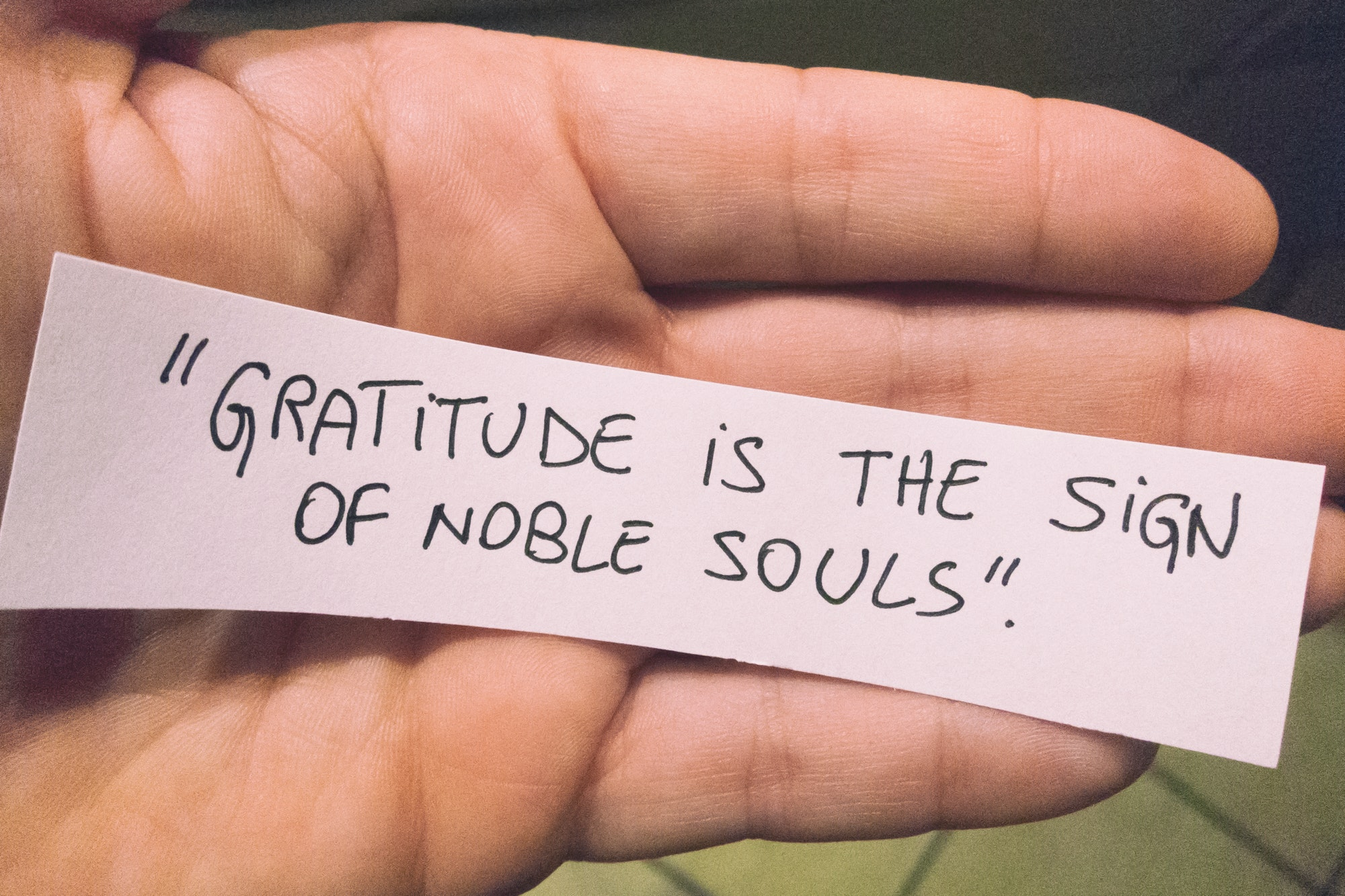 gratitude is the sign of noble souls